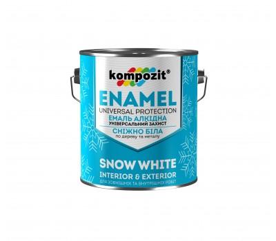 Эмаль алкидная снежно-белая Kompozit глянцевая (12 кг)