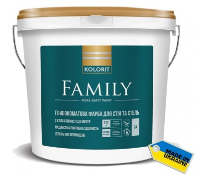 """Kolorit Family Краска латексная интерьерная база """"А""""-белая 0,9л"""
